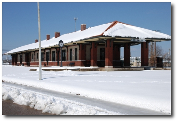 Rusellville Depot covered in snow